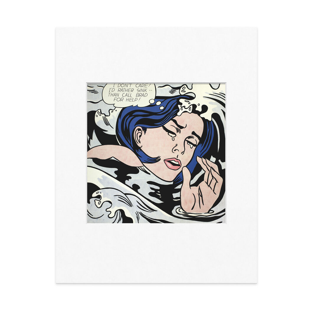 Lichtenstein: Drowning Girl Matted Print in color