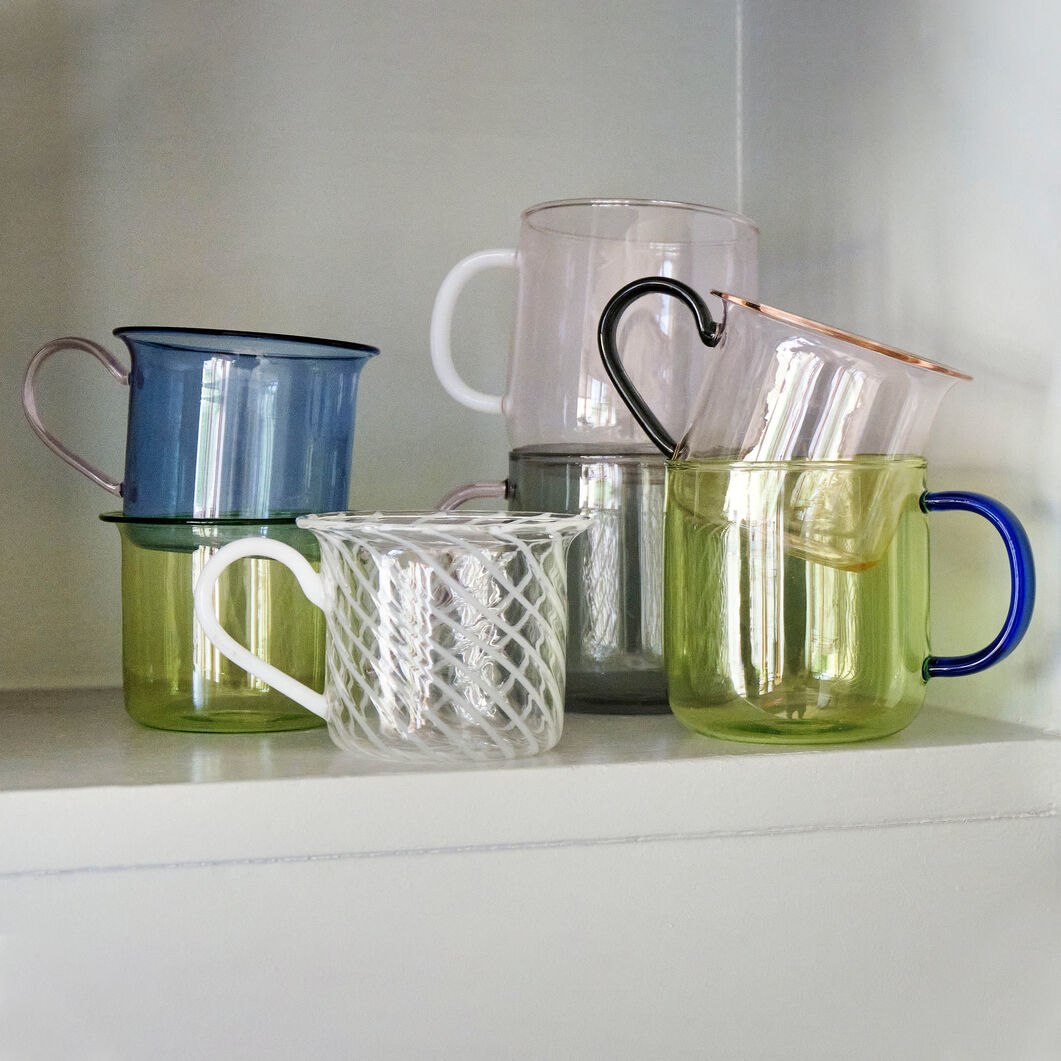 HAY Glass Mugs - Set of 2 in color Blue/ Light Pink