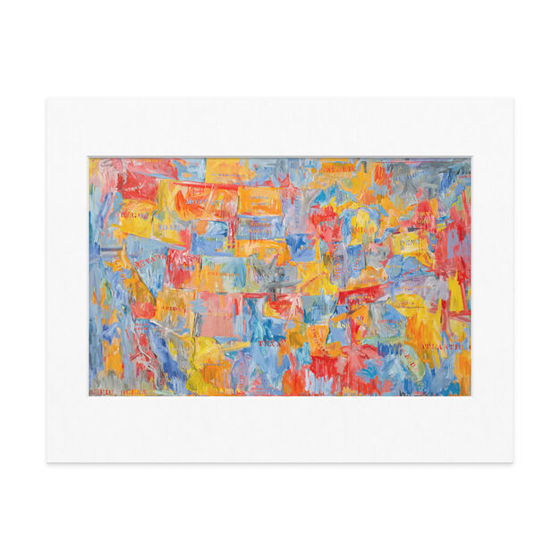 Johns: Map Matted Print in color