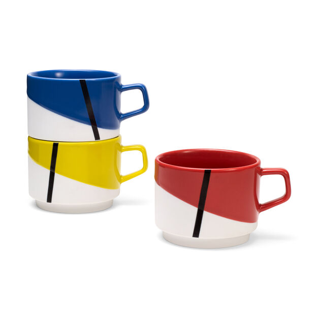 De Stijl Stacking Mugs - Set of Three in color