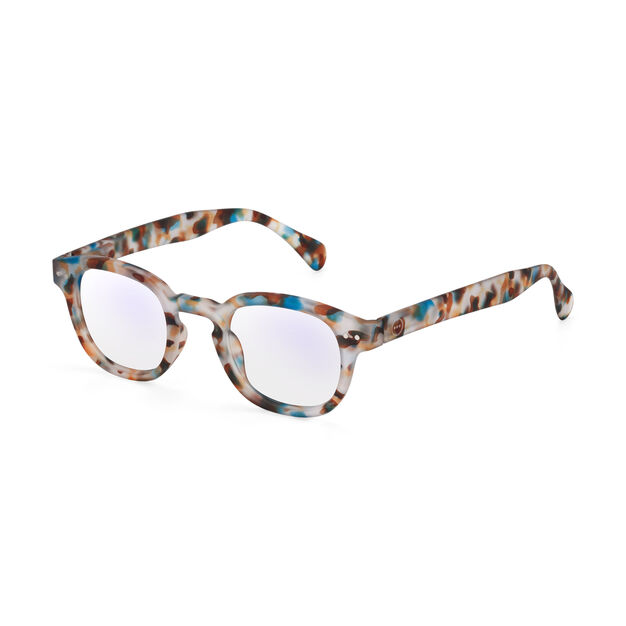 IZIPIZI Rounded-Edge Square Screen Glasses #C in color Blue Tortoise