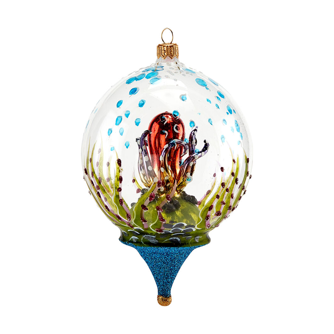 Underwater Octopus Globe Holiday Ornament in color