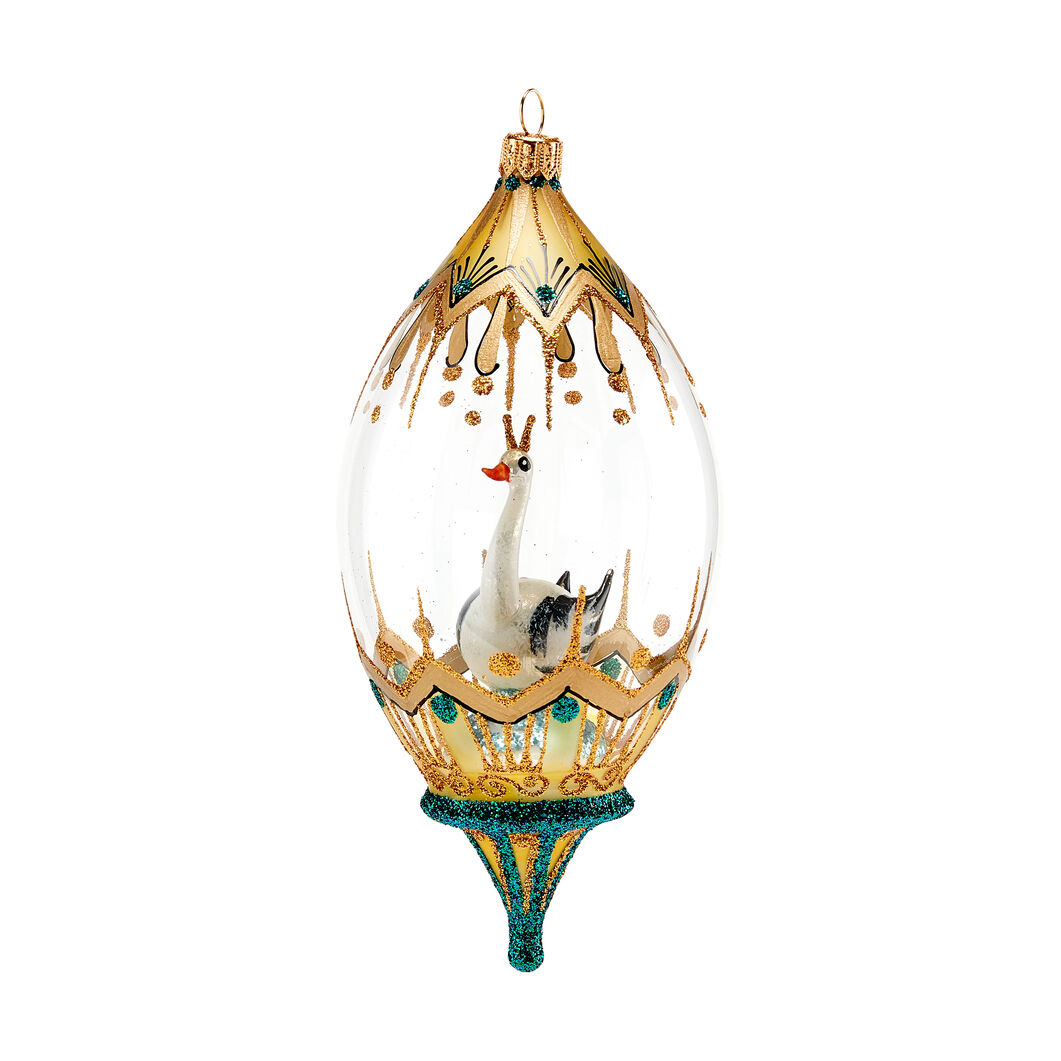 Royal Swan Globe Holiday Ornament in color