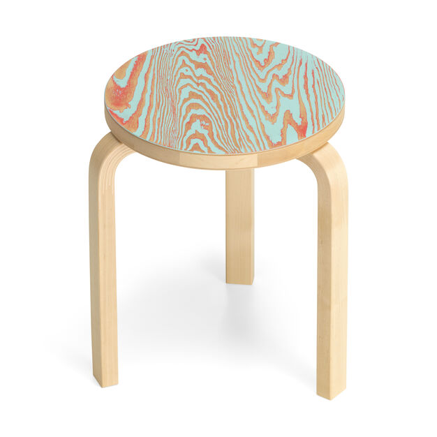 Artek Aalto ColoRing 60 Stacking Stool in color Red/ Turquoise