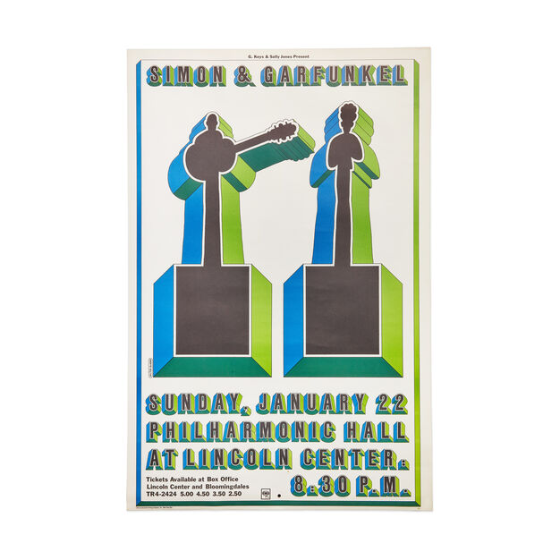 Milton Glaser: Simon & Garfunkel at the NY Philharmonic Poster in color