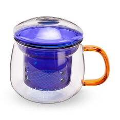 Multicolor Glass Mug in color Blue/ Amber