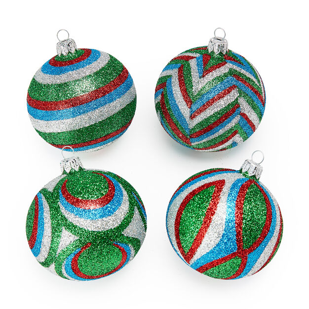 Green Glitter Holiday Ornament Set in color