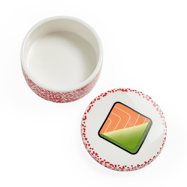 Maki Sushi Sauce Bowl & Chopstick Rest in color Red Fish Roe/ Avocado/ Salmon