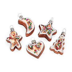 Gingerbread Holiday Ornament Set in color