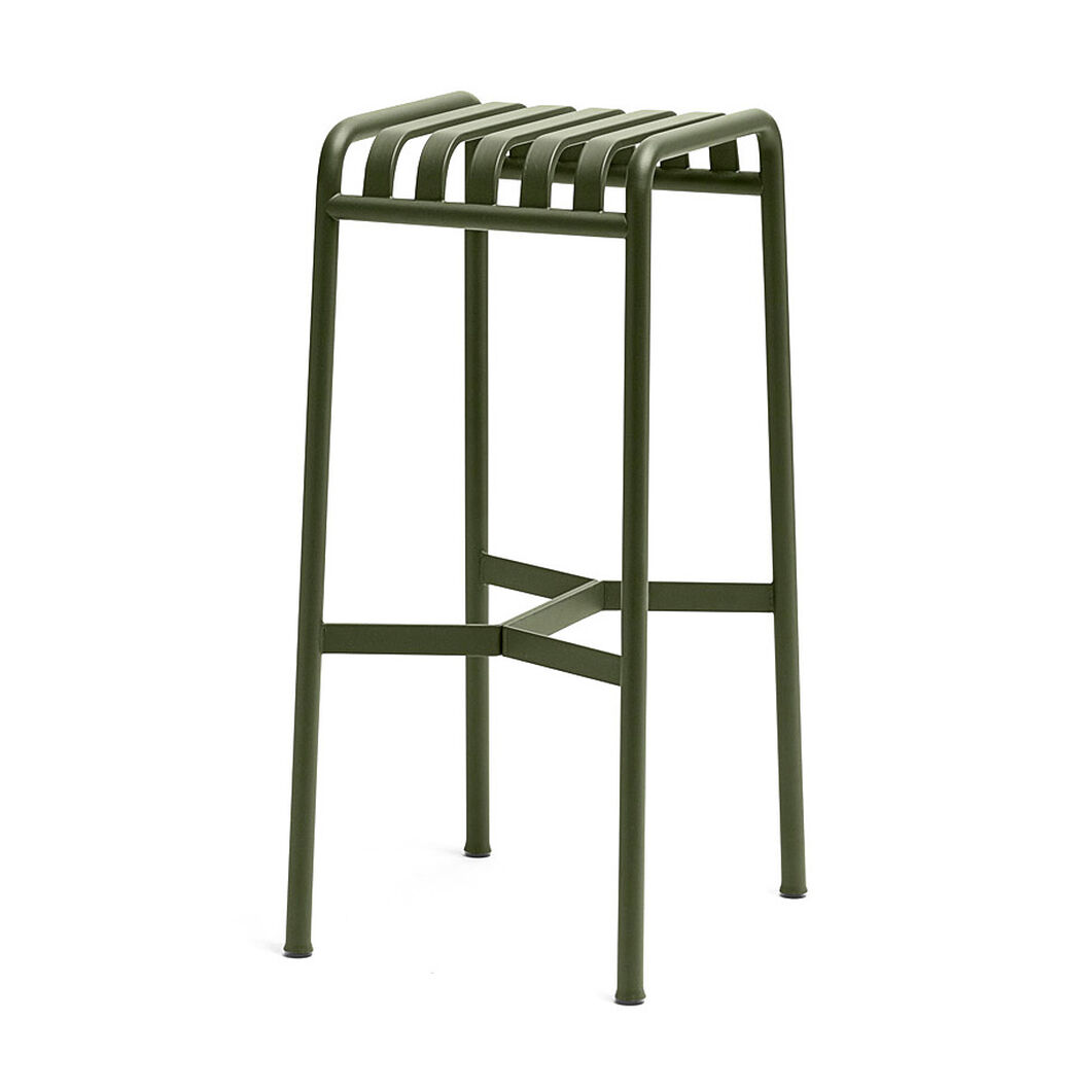 HAY Palissade Outdoor Barstool in color Olive