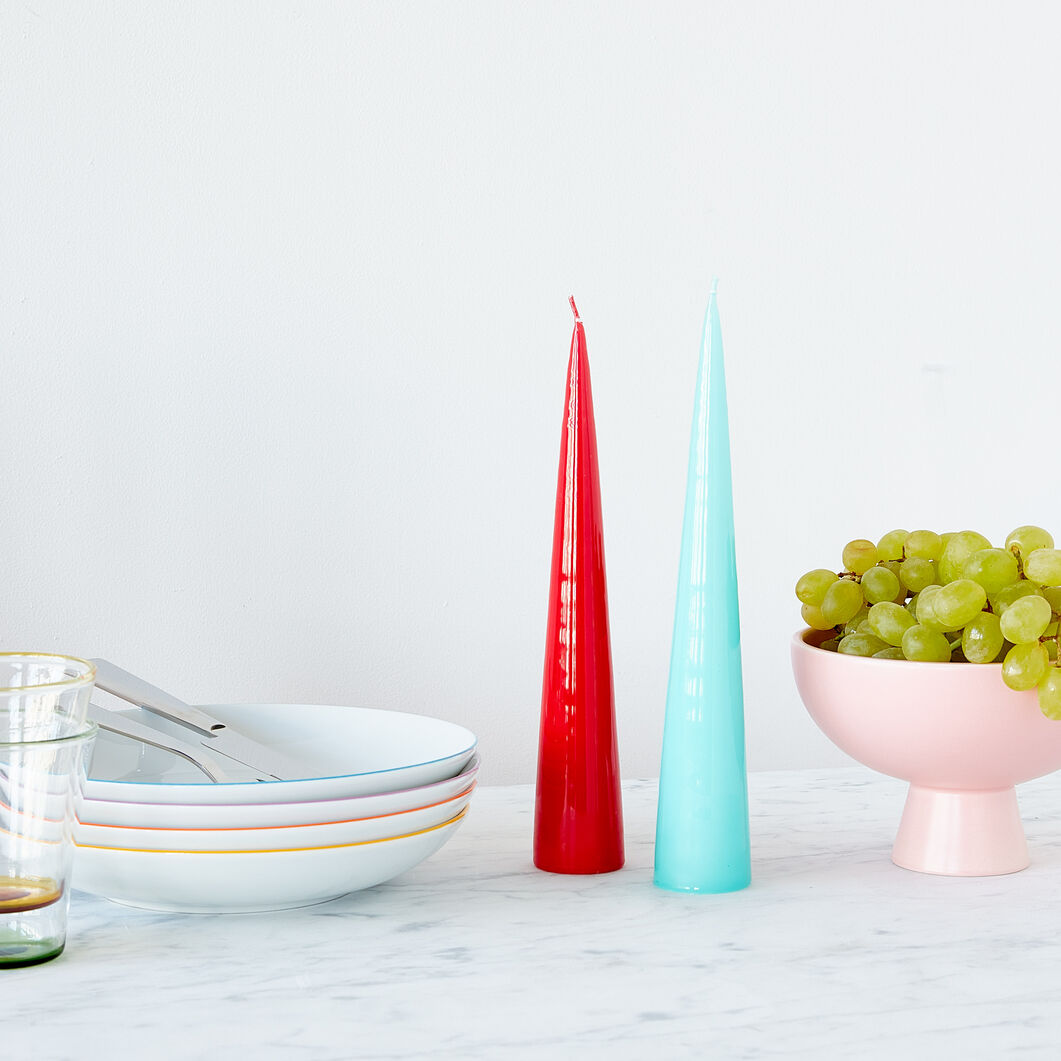 Cone Candles - Set of 2 in color Red/ Turquoise
