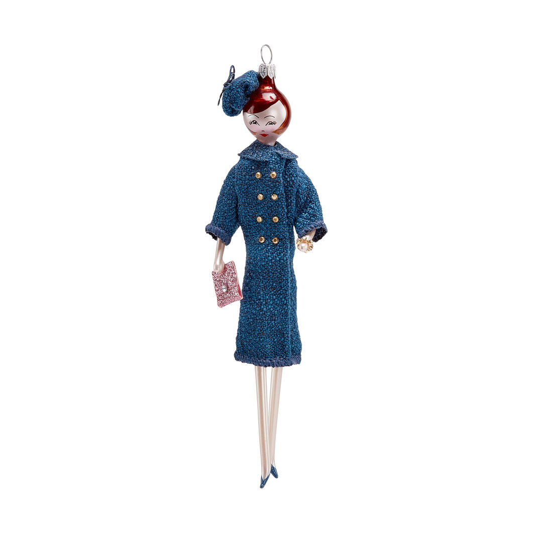 Woman with Blue Coat Holiday Ornament in color