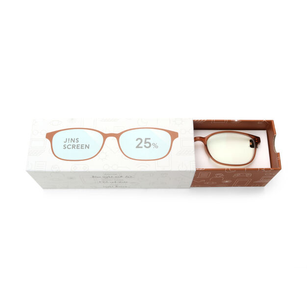 JINS Wellington Screen Glasses by Jasper Morrison in color Amber