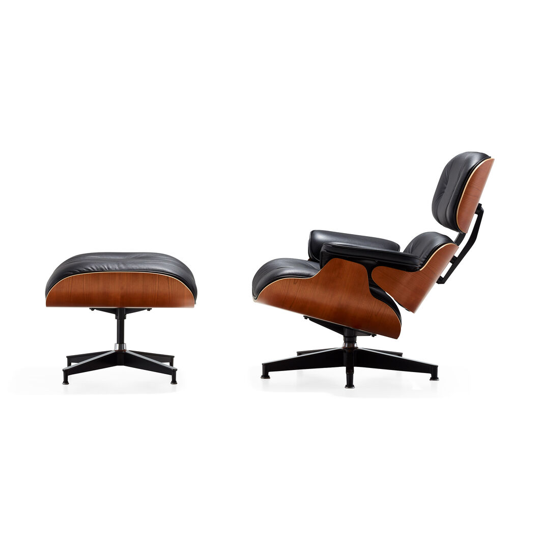eames lounge chair black leather walnut panel  moma design store - eames lounge chair black leather walnut panel in color black walnut