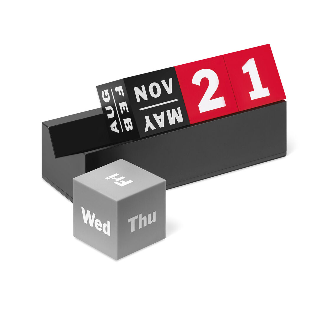 Calendar Perpetual Cubes Blk Red Grey in color Red/ Grey/ Black