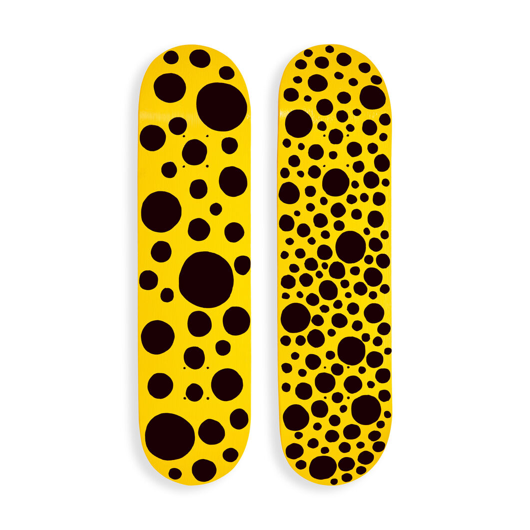 Yayoi Kusama Black Dots Skateboards in color Yellow