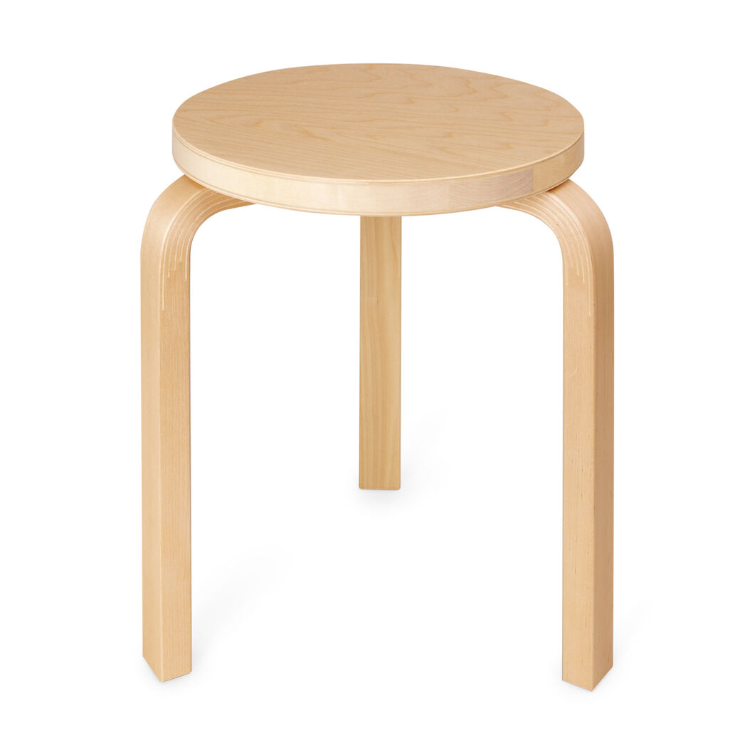 Three legged stacking stool birch top in color birch