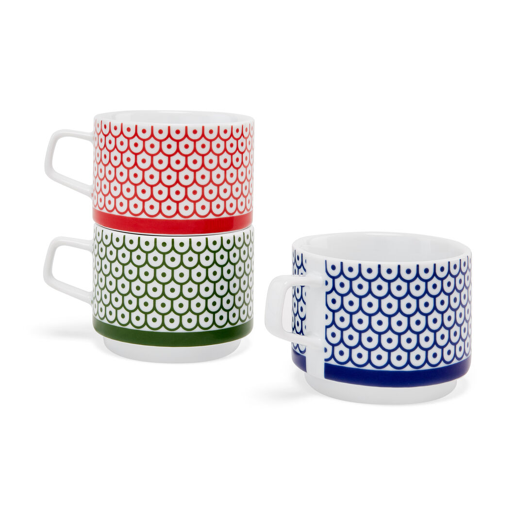 Marguerita Mergentime Shield and Dots Stacking Porcelain Mugs in color