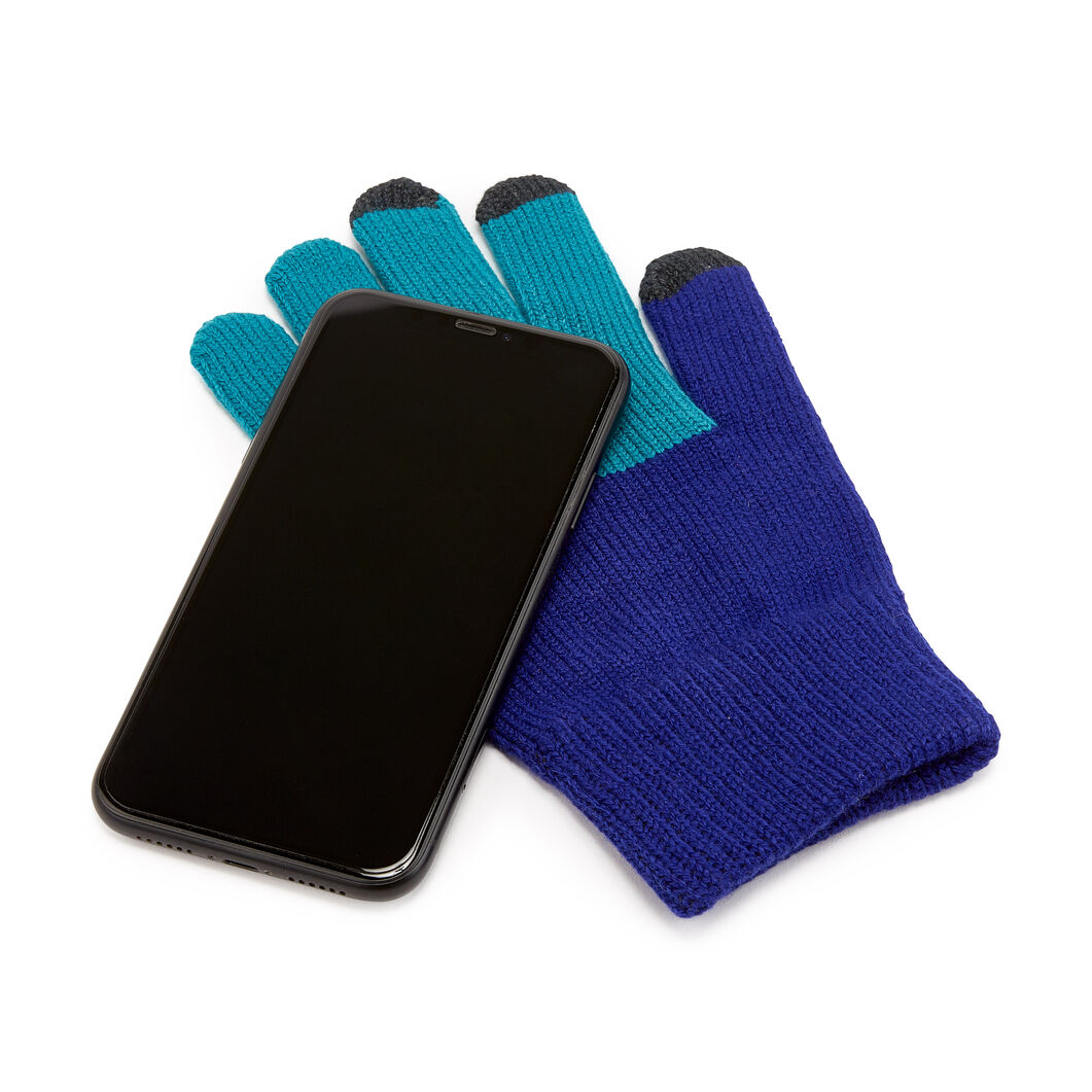 Pair & a Spare Color Block Smart Gloves in color Blue