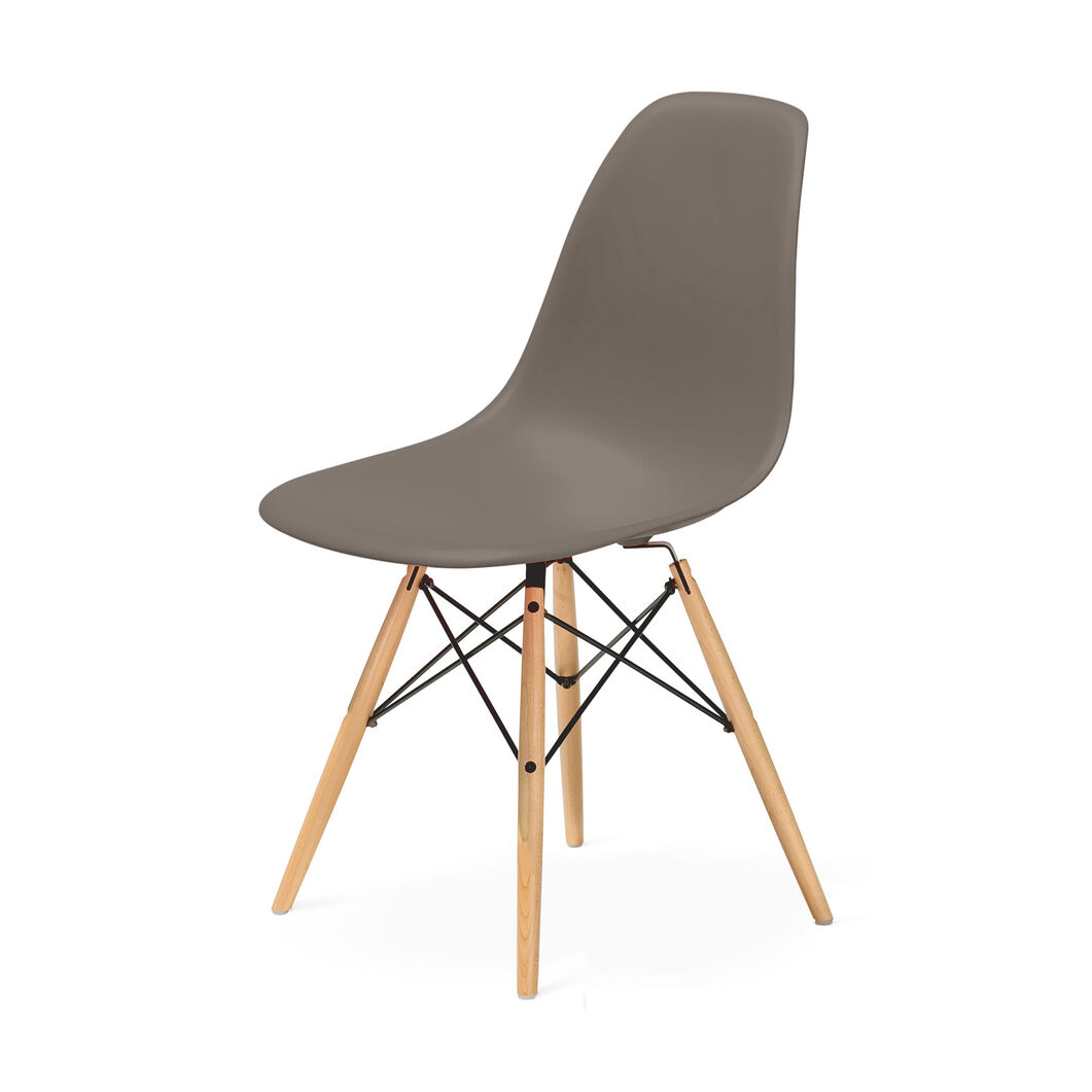 Eames® Molded Plastic Side Chair with Dowel-Leg Base (DSW) in color Sparrow