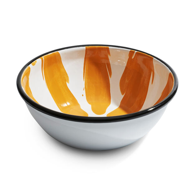Striped Enamel Bowl in color Yellow