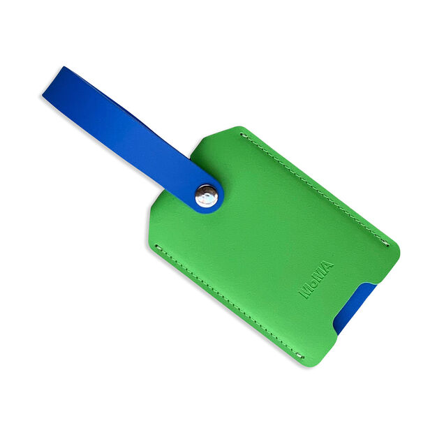 Primary Recycled Leather Luggage Tag in color Green/ Blue