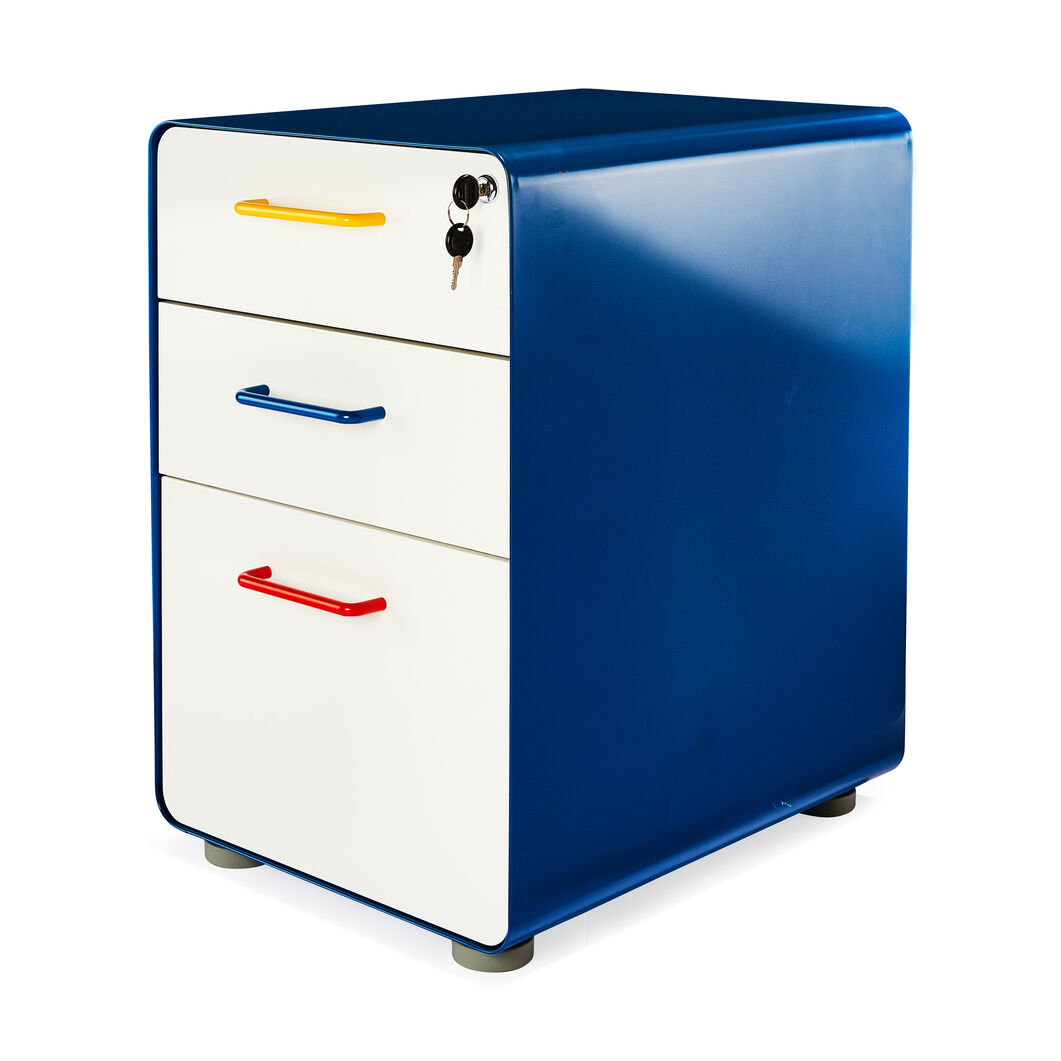 Poppin Stow 3-Drawer File Cabinet in color Red/ Blue/ Yellow