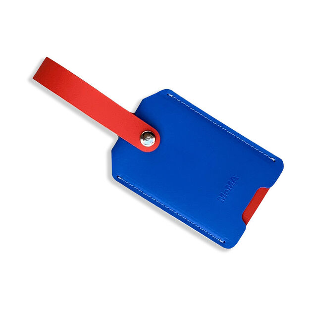 Primary Recycled Leather Luggage Tag in color Red/Blue