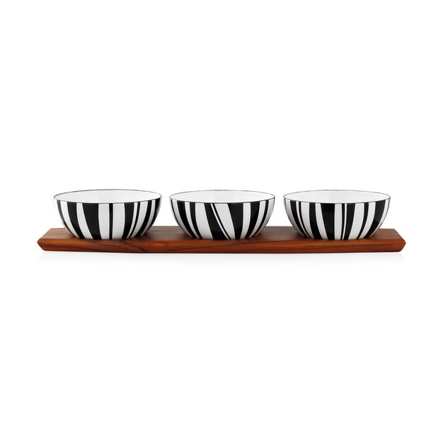Set of Three Striped Bowls with Display Board in color