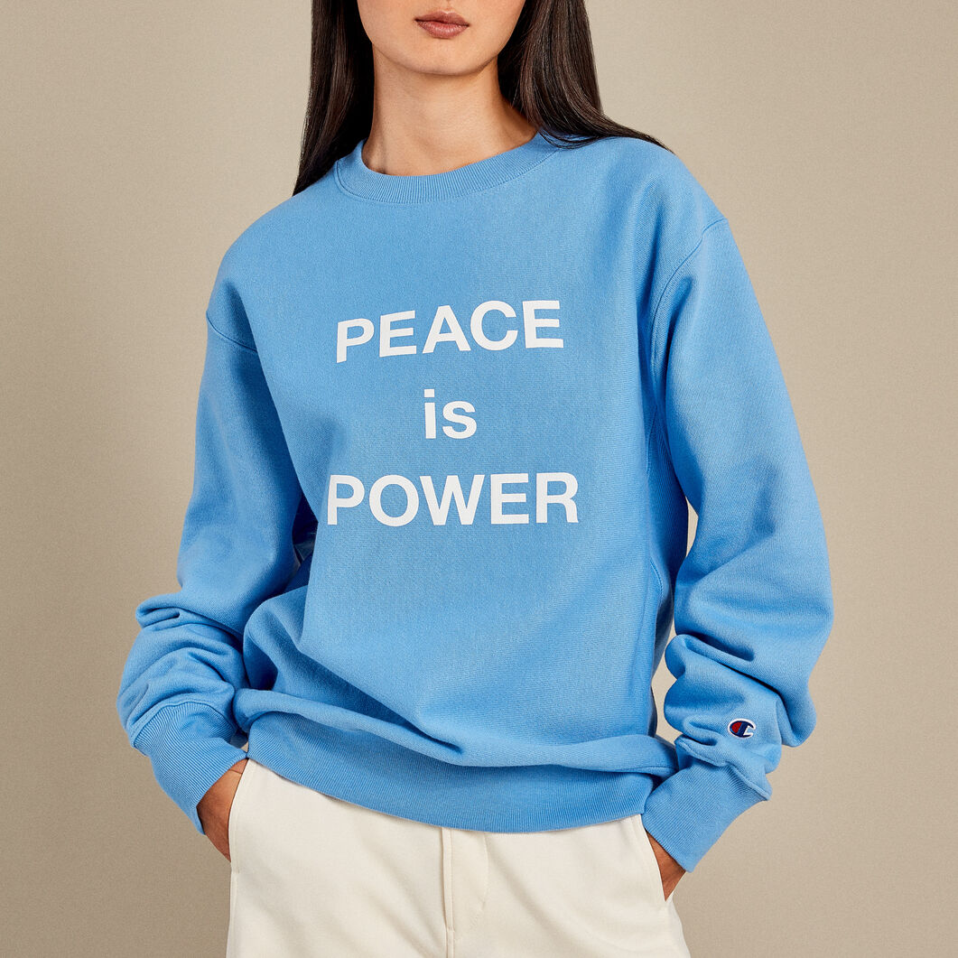 Yoko Ono PEACE is POWER Crewneck Sweatshirt in color