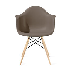 Eames® Molded Plastic Armchair with Dowel-Leg Base (DAW) from Herman Miller© in color Sparrow