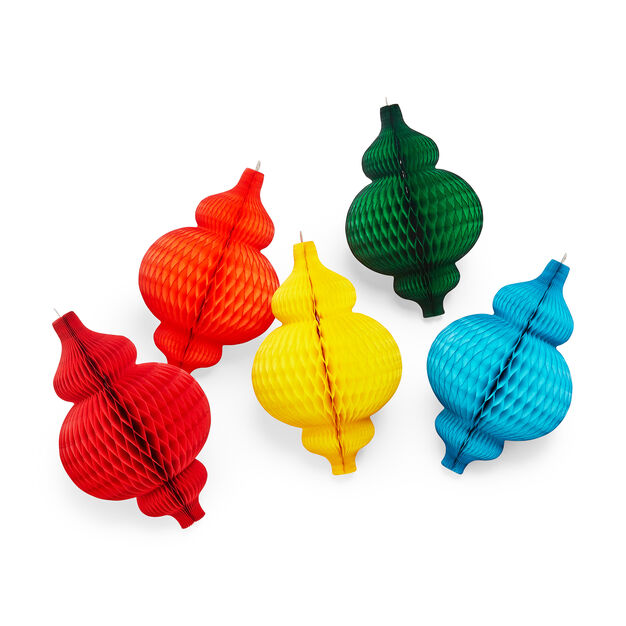 Honeycomb Bauble Large Holiday Ornament Set in color