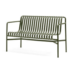 HAY Palissade Outdoor Dining Bench in color Olive