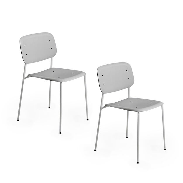 HAY Soft Edge Chair 10 - Set of 2 in color Gray Oak/ Gray