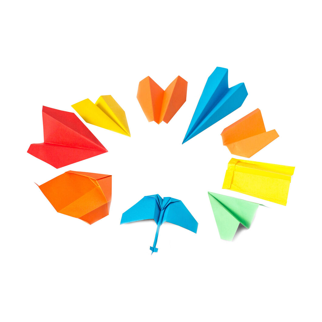 Origami Paper Planes in color
