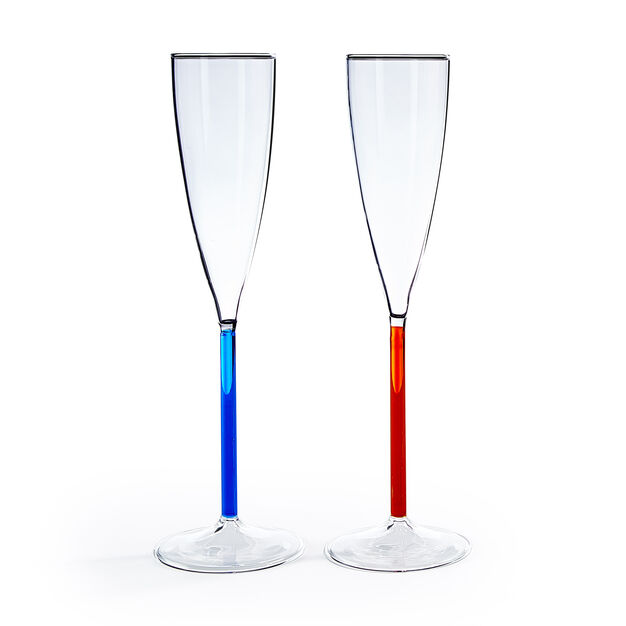 Color Accent Champagne Glasses Set in color Blue/ Red Orange