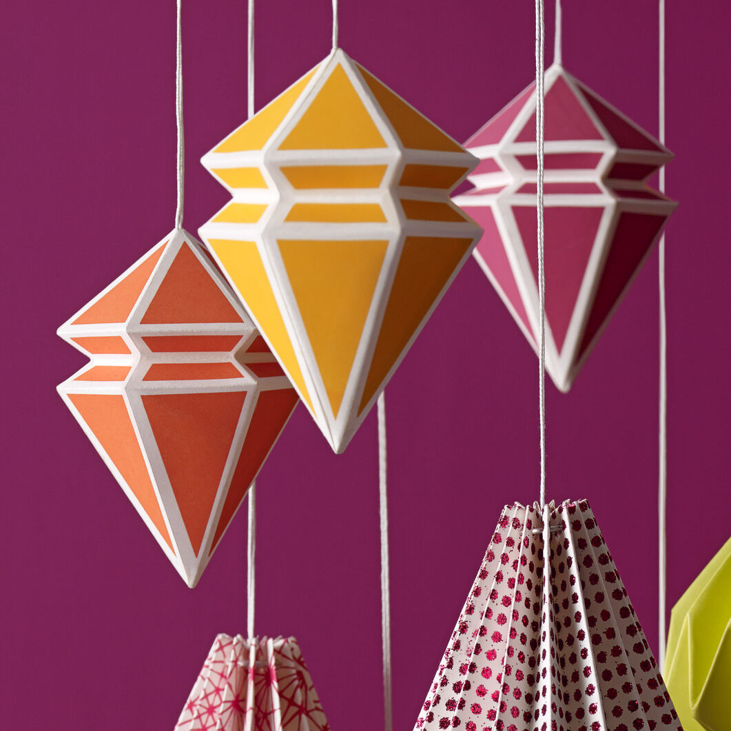 Geometric Paper Ornament Set: Cool Colors in color WARM