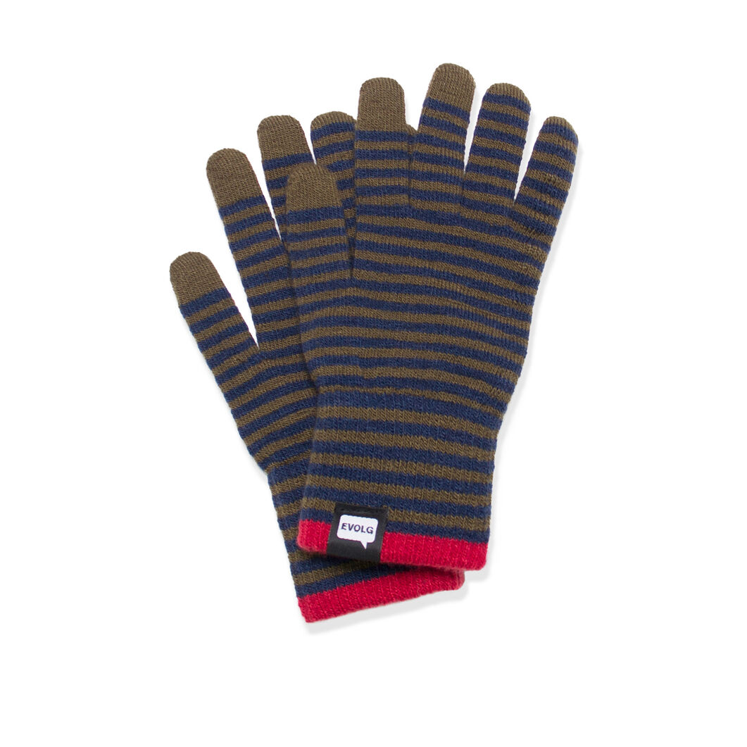Striped Touch Gloves- Olive/ Navy in color Olive/ Navy