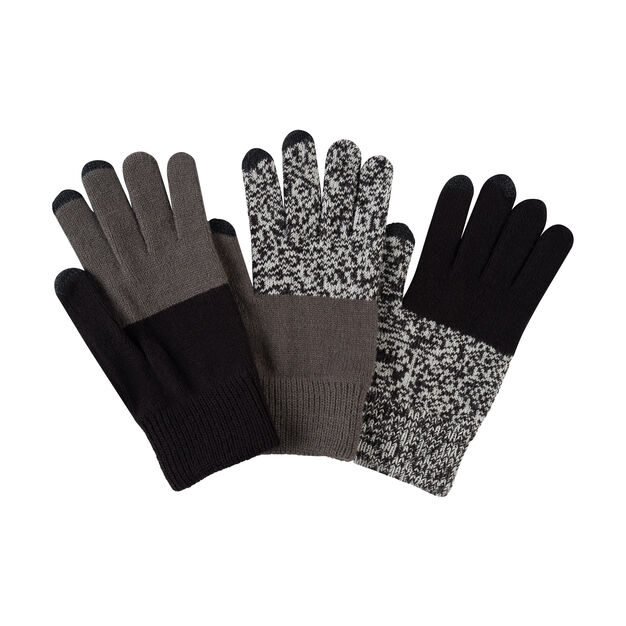 Pair & a Spare Color Block Smart Gloves in color Black/Gray
