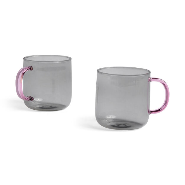 HAY Glass Mugs - Set of 2 in color Grey/ Light Pink