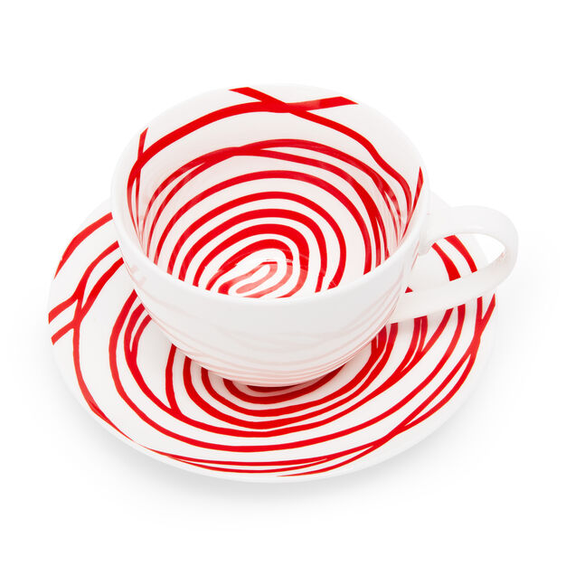 Louise Bourgeois Spirals Teacup & Saucer in color Red