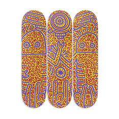 Keith Haring Untitled (1984) Skateboard Triptych in color