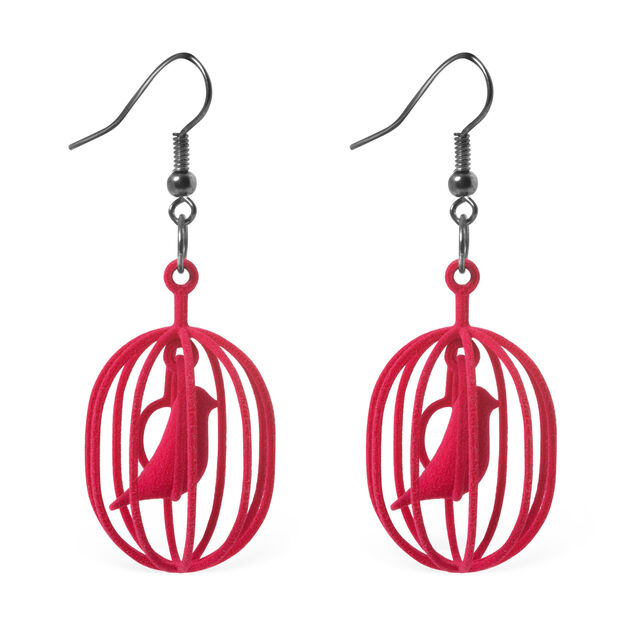 Happy Bird Earrings Red in color Red