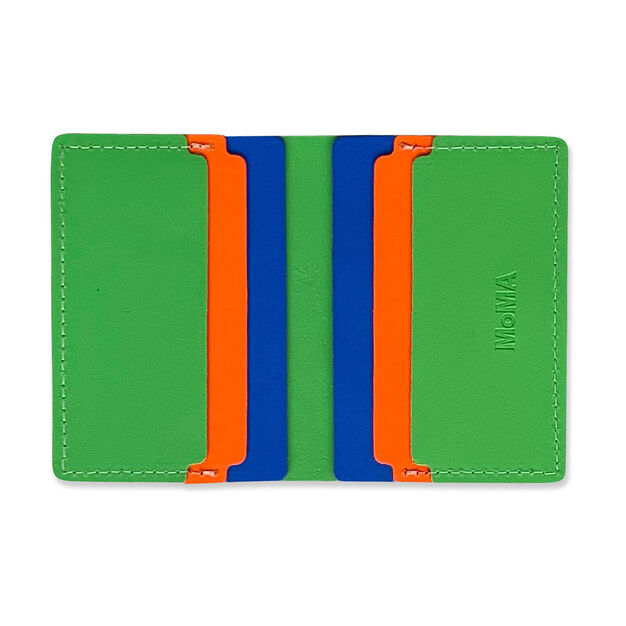 Primary Recycled Leather Wallet in color Green/ Blue