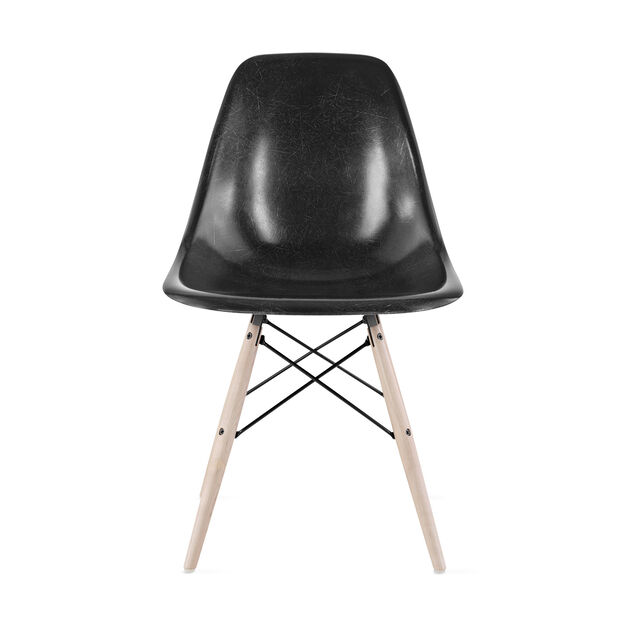 Eames®Molded Fiberglass Side Chair  Black in color