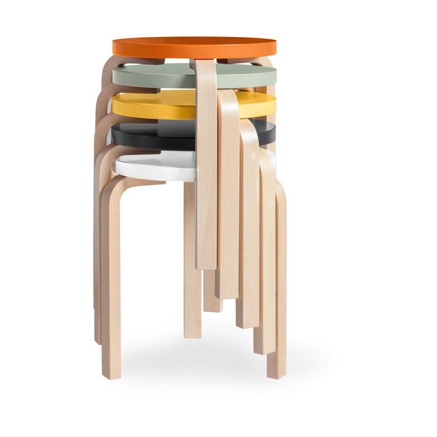 Artek Aalto Stacking Stool 60 in color Orange