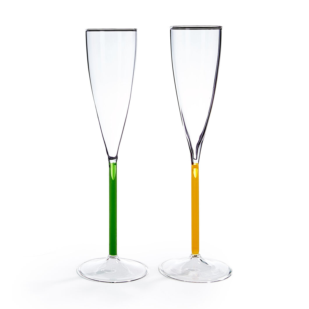 Color Accent Champagne Glasses Set in color Green/ Yellow