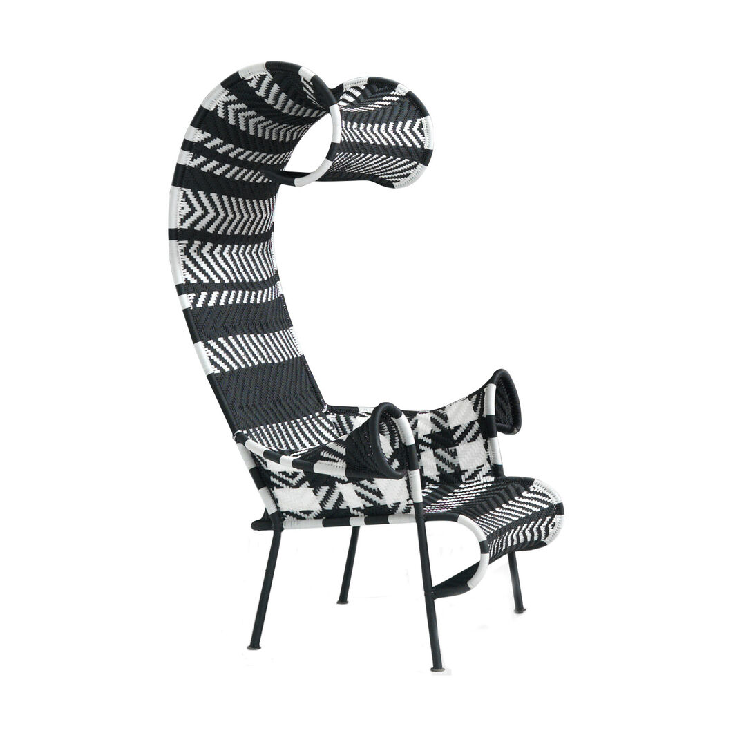 M'Afrique Shadowy Armchair in color Black/White