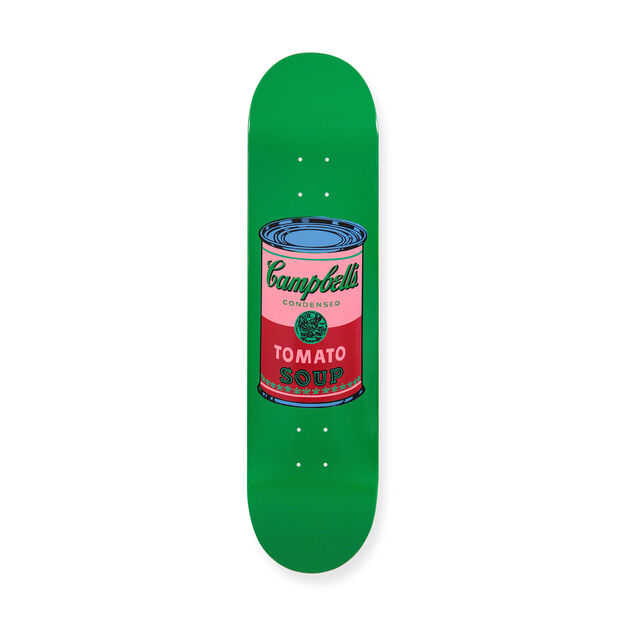 Andy Warhol: Skateboard Colored Campbell's Soup Cans in color Blood