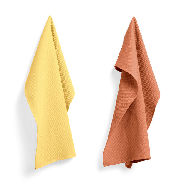 HAY Waffle Tea Towel Set in color Terracotta/ Yellow